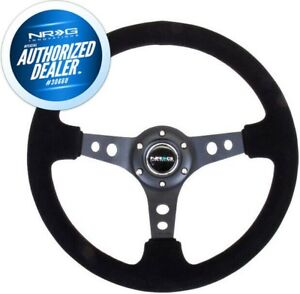New Nrg Deep Dish Steering Wheel 350mm Black Suede Black Center Rst 006s