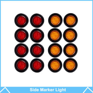 16x 2 Round Side Marker Clearance Light Trailer Amber red 9 Led 12v Waterproof