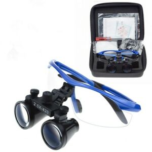 Dental 2 5x Loupes Surgical Binocular Loupes Magnifier Blue Us Stock