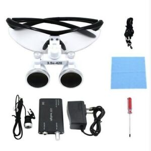 Dental Loupes 3 5x Surgical Glasses Magnifier With Led Head Light Lamp Us Stock