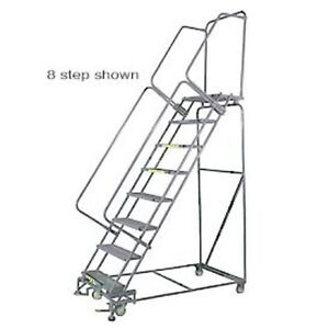 New 7 Step 24 wx72 d Stainless Steel Rolling Safety Ladder Perforated Tread