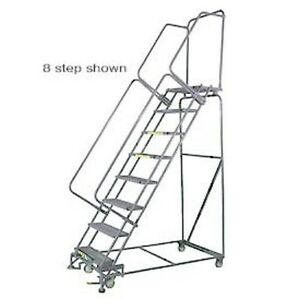 New 7 Step 24 wx65 d Stainless Steel Rolling Safety Ladder Serrated Grating