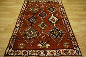 Vintage Persian Tribal Shiraz Yalameh Scarlet Red Gold Navy Ivory Walnut Rug 4x6