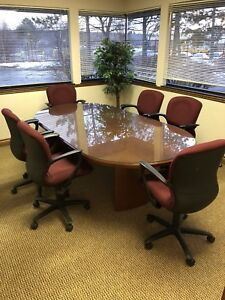 8 Ft Glass Top Wood Base Oval Conference Room Table Great Condition