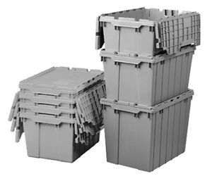 Plastic Shipping Storage Container Organizer With Hinged Lid Case Of 6 Grey