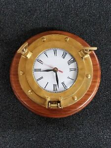 Vintage Ship Port Hole 7 Brass Mounted On A Walnut Base With A Clock
