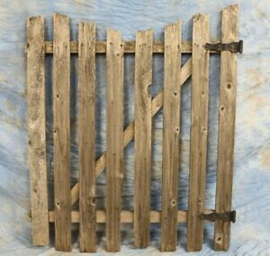 Vintage Weathered Wooden Garden Gate Panel 52 Tall With Hardware Rustic Country