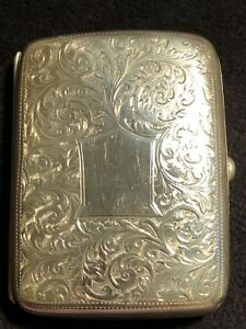 Antique Victorian Sterling Silver Card Cigarette Case 59 56g Gt