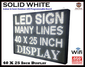 40 X 25 Inch Led White Wifi Indoor Semi outdoor Programmable Scrolling Sign