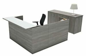 Amber L shape Reception Office Desk Shell With Glass Counter Valley Grey