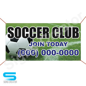 Custom Phone Number Soccer Club Join Today Banner 3 x6 Banner