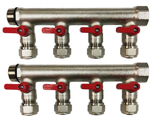 1 Brass Ball Valve Manifold For 1 2 Pex Tubing With 8 Port Red