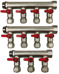1 Brass Ball Valve Manifold For 1 2 Pex Tubing With 11 Port Red