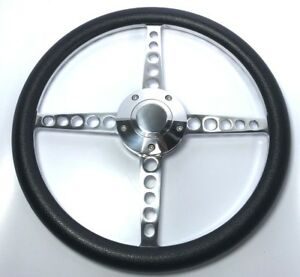 14 Polished Billet Steering Wheel black Half Wrap And Polished Horn Button