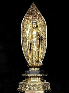 Rare Antique Japanese Shrine Temple Wood Gold Gilt Standing Buddha Statue