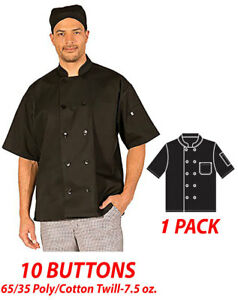 Hilite Chef Coat 10 Buttons Short Sleeve 65 35 Polycotton Twill 7 5 Oz 530bk
