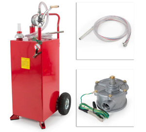 Portable Fuel Tank With Gasoline Transfer Siphon Gas Caddy Metal Wheeled 30 Gal