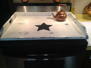 Farmhouse Primitive Shabby Chic Wood Stove Top Cover White With Large Blk Star