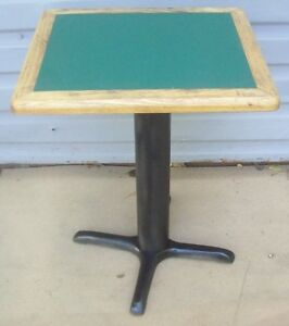 Restaurant Equipment 21 X 19 Table With Base 29 Tall Green Formica Wood Trim