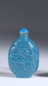 China Chinese Turquoise Porcelain Snuff Bottle W Relief Phoenix Ca 19 20th C