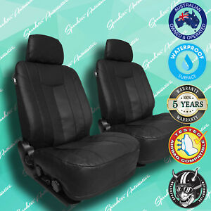 Honda Integra Black Leather Car Front Seat Covers Thick Vinyl All Over Seat