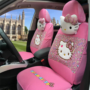 18 Pcs Cute Hello Kitty Car Seat Cover Cartoon For Women Accessories Interior