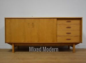 Modern Oak Credenza Sideboard Mid Century Danish Style Tv Console Stand