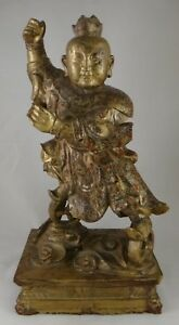 Antique Chinese Carved Gilt Wood Figure On Stand Qing Dyn 19th C 15 Ta