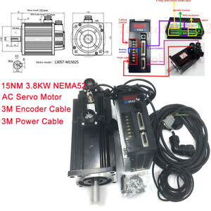 15nm 3 8kw Ac Servo Motor With Brake 220v Drive Kit 2500r min Nema52 Step Dir