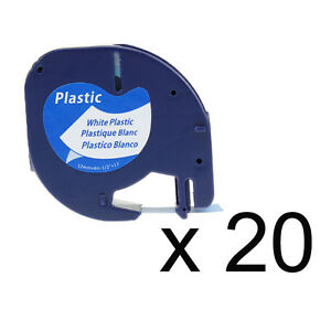 20pk Lt 91331 91201 Compatible For Dymo White Plastic Letratag Label Tape 1 2