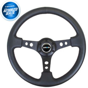 New Nrg Deep Dish Steering Wheel 350mm Black Leather Black Center Rst 006bk