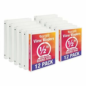 Samsill Economy 3 Clear View Cover White Bulk Binders 5 Inch Round Ring 12 Pack