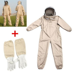 Full Body Beekeeping Protective Suit Unisex Cotton Safely With Goatskin Gloves