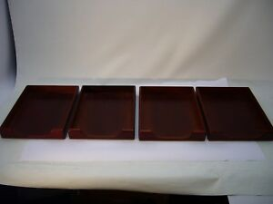 4 rolodex Sanford Brand Wooden File Trays Letter Storage Desk Office Organizer