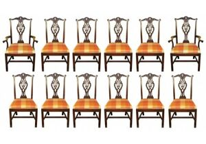 Set Of Twelve Vintage Chippendale Style Mahogany Dining Chair 66916