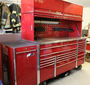Snap on Winston Select Candy Apple Red Metal Mechanic Tool Chest Cart Work Bench