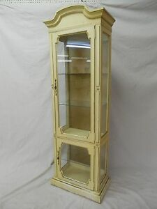 Hollywood Regency Paint Decorated 2 Door Curio Cabinet 79 H X 26 W X 14 5 D