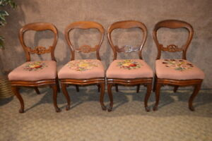 Antique Victorian Walnut Balloon Back Dining Chairs W Needlepoint Seat Covers