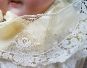 Antique Net Lace Embroidered Vtg Sewing Trim Doll Small Collar