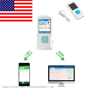 Us Seller Bluethooth Portable Ecg Ekg Machine Pm10 Color Screen Usb hr Monitor