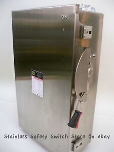 Square D Stainless Hu364ds 200 Amp 600 Volt Non fused Safety Switch 213b New