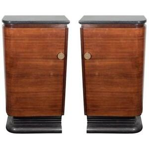 American Art Deco A Pair Of Streamlined Wood Marble Bar Cabinets Ca 1940s