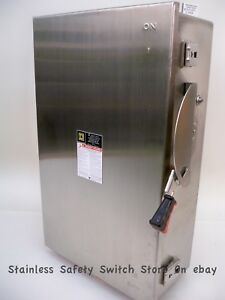 Square D Stainless Hu364ds 200 Amp 600 Volt Non fused Safety Switch 288a New