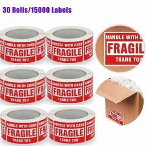30 Roll 15000 Label 3 X 5 Handle With Care Fragile Thank You Red Warning Label