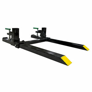 30 Lw Clamp On Pallet Forks W Adjustable Stabilizer Bar 1500lb Capacity Used