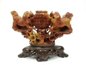 Gorgeous Chinese Intricately Carved Soap Stone Foo Dog Incense Burner 6 5