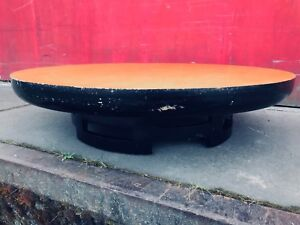 Vintage Modern Low Rise Asian Inspired Black Gold Tone Kittinger Coffee Table