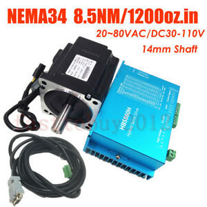 4 Axis 8 5nm Nema34 Closed Loop Stepper Hybrid Servo Drive Motor Kit Ac dc Power