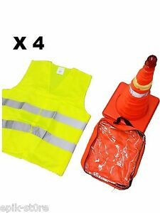 4x 18 Collapsible Led Traffic Safety Parking Pop Cones Reflective Vest