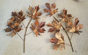 Mid Century Copper Maple Leaf Wall Hangings Curtis Jere Unsigned